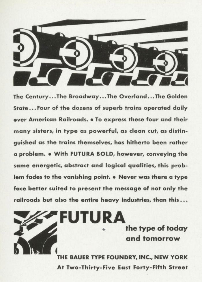 """Futura Bold ad: """"the type of today and tomorow"""""""