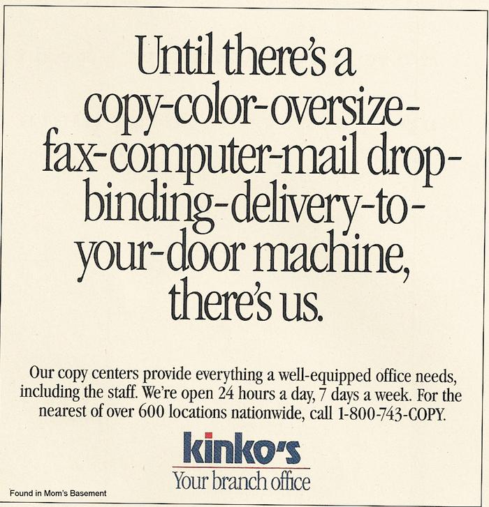 Kinko's ads and logo (1992) 2