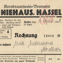 H. Niehaus invoice, 1944