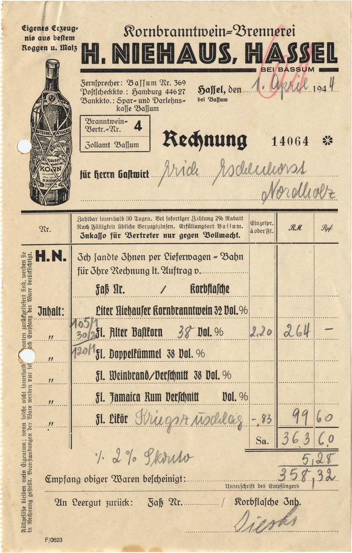 H. Niehaus invoice, 1944 1