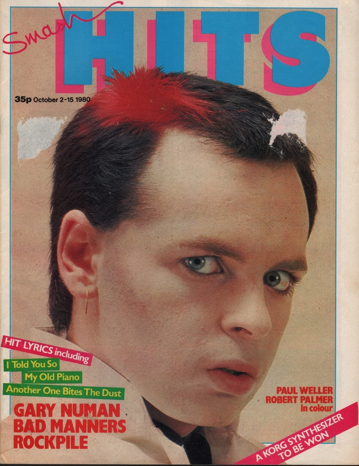 """Antique Olive had to make way for shaded caps similar to Futura Extra Bold (but with vertical terminals on the 'S', paired with a handwritten """"Smash"""") from Vol. 2, No. 20 (October 2, 1980) on. Steve Bush was the magazine's Design Editor at that time. Cover: Gary Numan by Dick Wallis/Rocktography."""