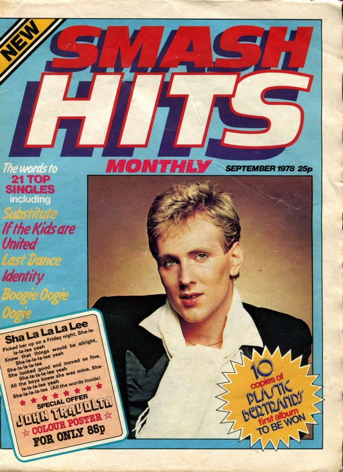 The cover of the Smash Hits prototype issue from September 1978 featured Plastic Bertrand and a logo in Antique Olive Nord Italic with dramatic drop shadow. The official No. 1 from November 1978 credits Ross George with the design.