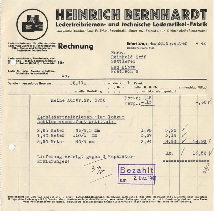 Heinrich Bernhardt invoice, 1940 1