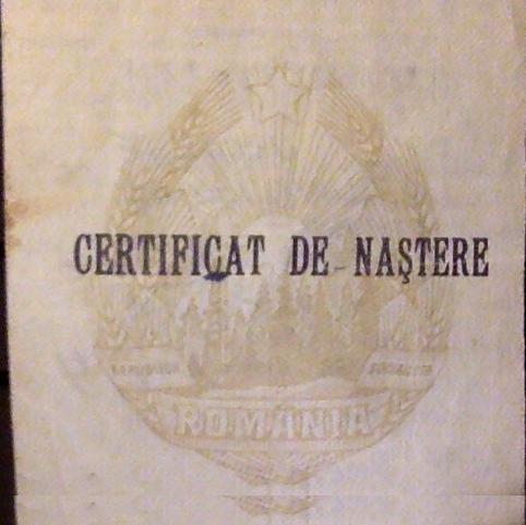 Birth certificate from communist Romania, 1988