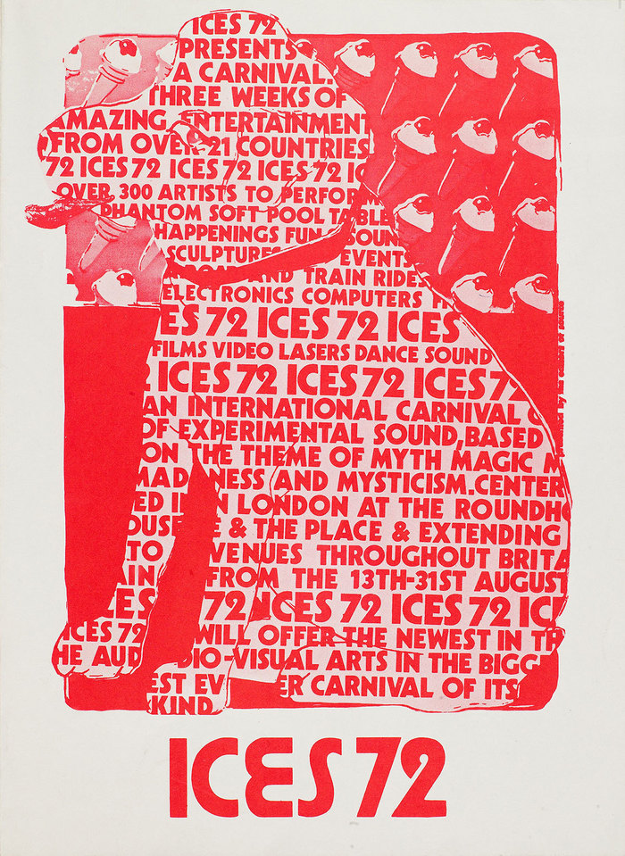 ICES 72 (International Carnival of Experimental Sound), August 1972, feat. Kabel Black and handdrawn letters modeled after ITC Pump or Burko.
