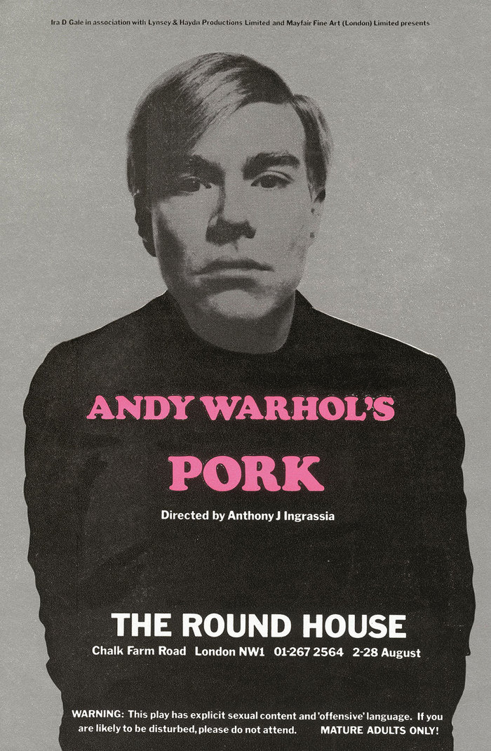 Andy Warhol's Pork, August 1971, in pink Cooper Black with Franklin Gothic.