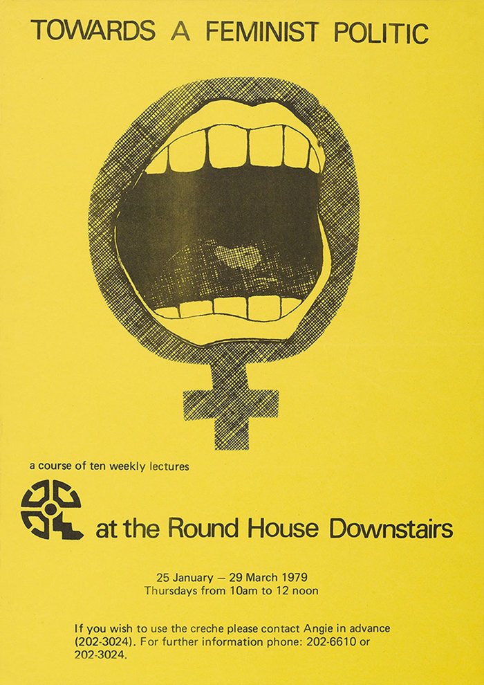 """""""Towards A Feminist Politic"""", 1979, in Univers. The alignment suggests this was (carelessly) done with Letraset sheets."""