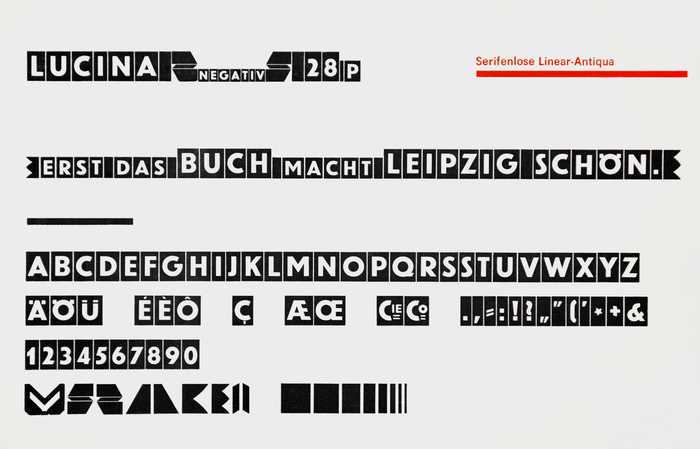"""In addition to caps and border elements, Lucina's glyph set includes numerals, punctuation marks, and """"Cie""""/""""Co"""" logotypes (for Compagnie). This weight seems to be derived directly from Erbar-Grotesk fett. Aspecimen of the lighter weight also shows a 'CH' ligature."""