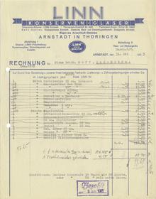 Linn Konserven-Gläser invoice, 1935