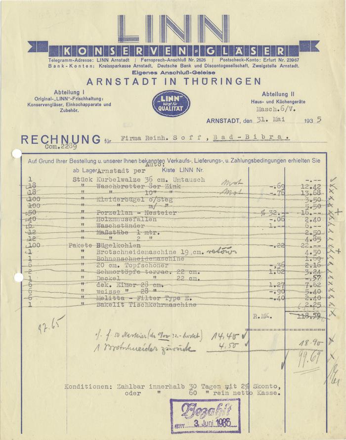 Linn Konserven-Gläser invoice, 1935 1