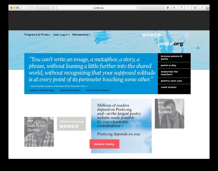 poets.org homepage.