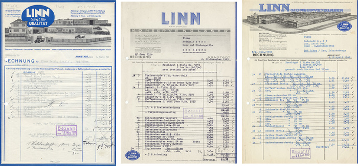 """Linn invoices from 1938, 1942, 1943 (first image: muenzen-halle): Not exactly an example of brand continuity. The only constants seem to be the color blue and the badge saying """"Linn guarantees quality"""". None of them uses type for the """"LINN"""" logo. In the two most recent ones (which were made by Löffler & Co, Saalfeld) the complete letterhead is lettered — a reminder that the technical development was not a one-way street from lettering towards type."""