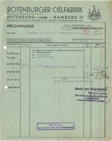Rotenburger Ölfabrik invoice, 1935