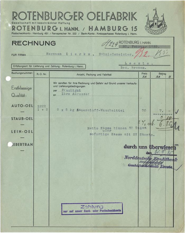 Rotenburger Ölfabrik invoice, 1935 1