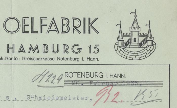 Rotenburger Ölfabrik invoice, 1935 2