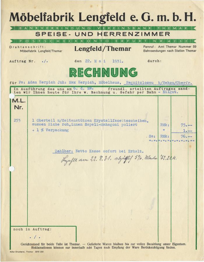 Möbelfabrik Lengfeld invoice, 1931 1