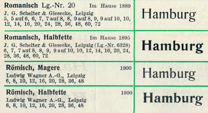 Snippets from Seemann's Handbuch der Schriftarten (1926), showing Romanisch (Schelter & Giesecke) and Römisch (Ludwig Wagner).