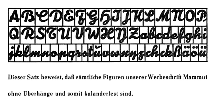 "Mammut was advertised as the ""indestructible inclined typeface without any overhangs"". Being ""kalanderfest"" was an important feature for impressing cardboard mats, or flongs, in the stereotyping process, see this post about Prägefest."