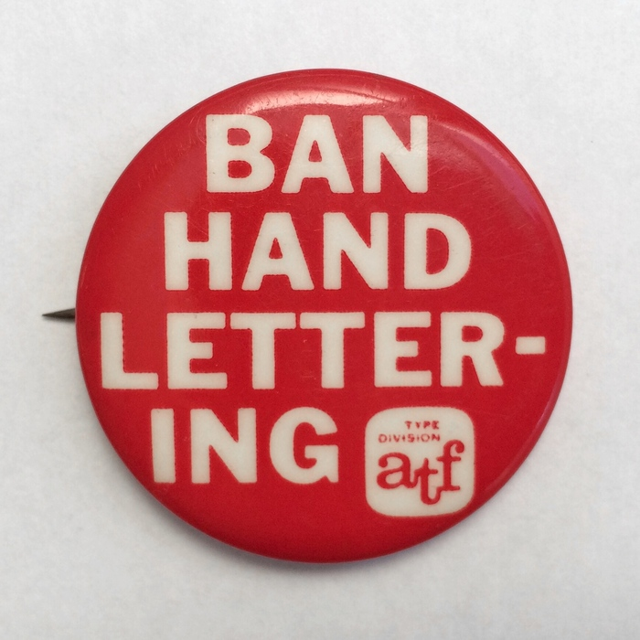 """BAN HAND LETTERING"" button"