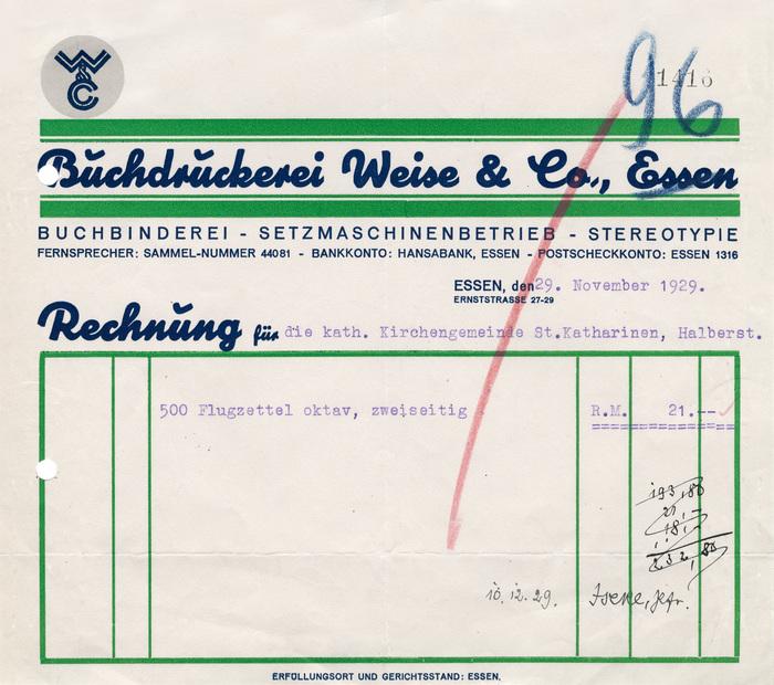 Buchdruckerei Weise & Co. invoice, 1929 1