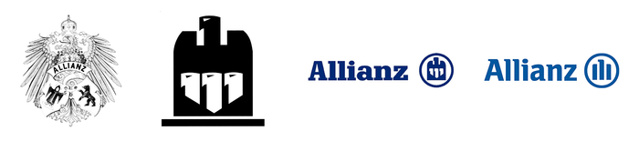 Allianz logos: 1890, 1923, 1977, 1999. The current logo was drawn by Georg Salden. Claus Koch hired Gerard Unger to create several custom fonts for the company, but they do not appear to be the basis for the logotype.