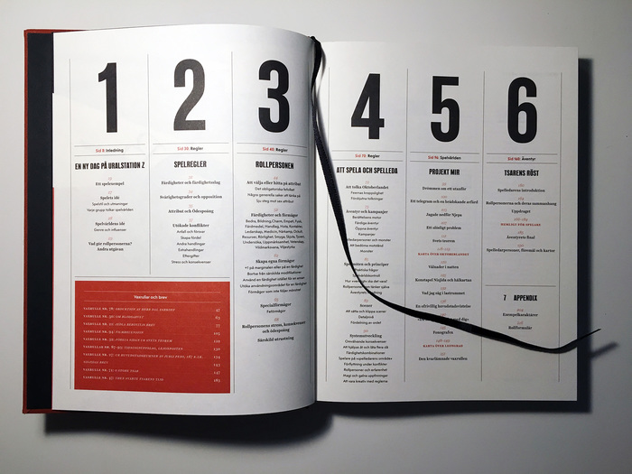 This is one of the first spreads, with the table of contents. I wanted a quite rigid grid and a typography and graphic design that doesn't just serve to present the content — it should be part of the book art itself.
