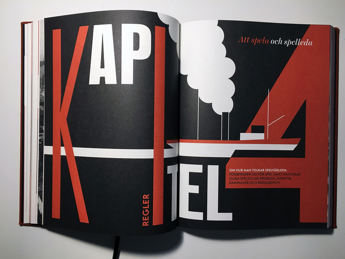 Every chapter of the book begins with these kind of spreads, where the chapter number, title and description is presented in a constructivist style.