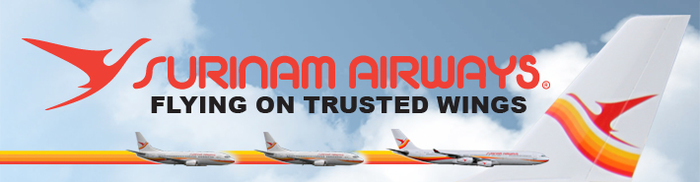 The Surinam Airways logo with the slogan in Arial Black: Flying on trusted wings … of a pterosaur?