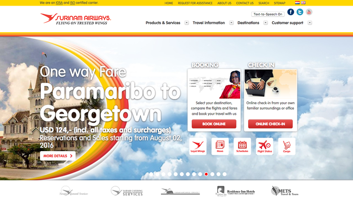 The Surinam Airways website uses a version of VAG Rounded.