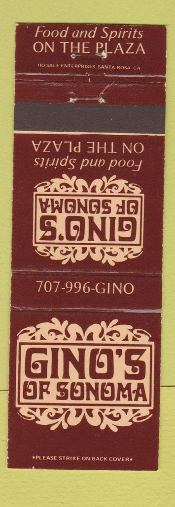 Gino's of Sonoma matchbook 2