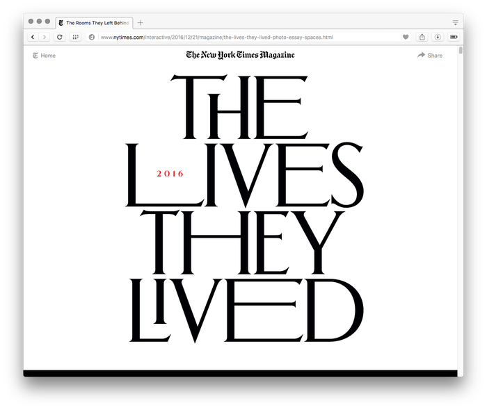 The New York Times Magazine, The Lives They Lived issue 2016, online edition 1