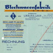 Blechwarenfabrik Limburg invoice, 1930
