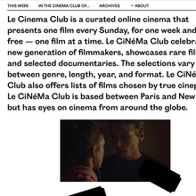 <cite>Le Cinema Club</cite> website (2016)