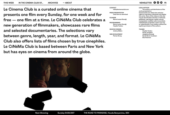 Le Cinema Club website (2016) 2