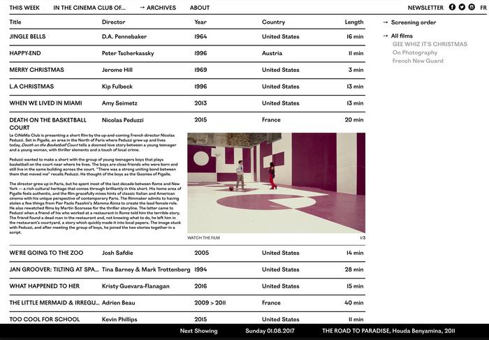Le Cinema Club website (2016) 4