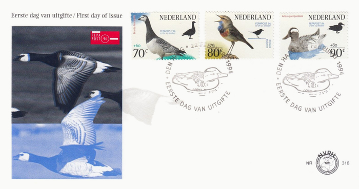 Official NVPH first day of issue cover with special postmark, featuring Meta caps set on a circle.