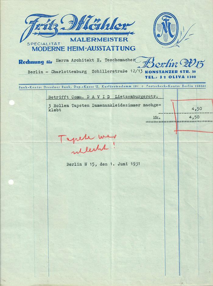 Fritz Mähler invoice, 1931