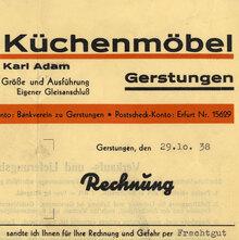 Thüringer Küchenmöbel invoice, 1938