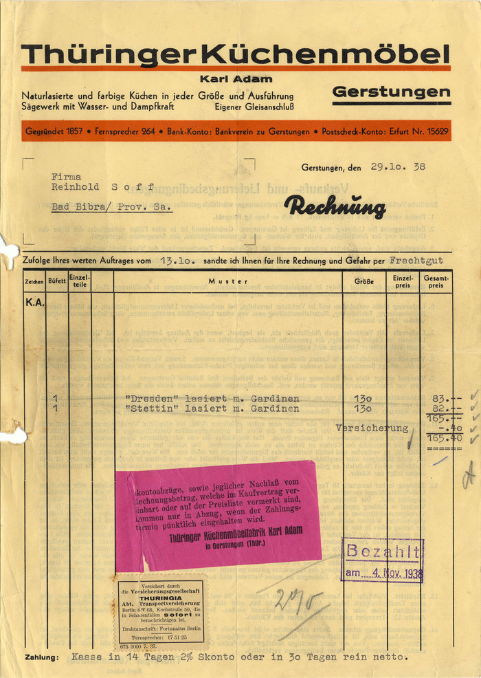 Thüringer Küchenmöbel invoice, 1938 1
