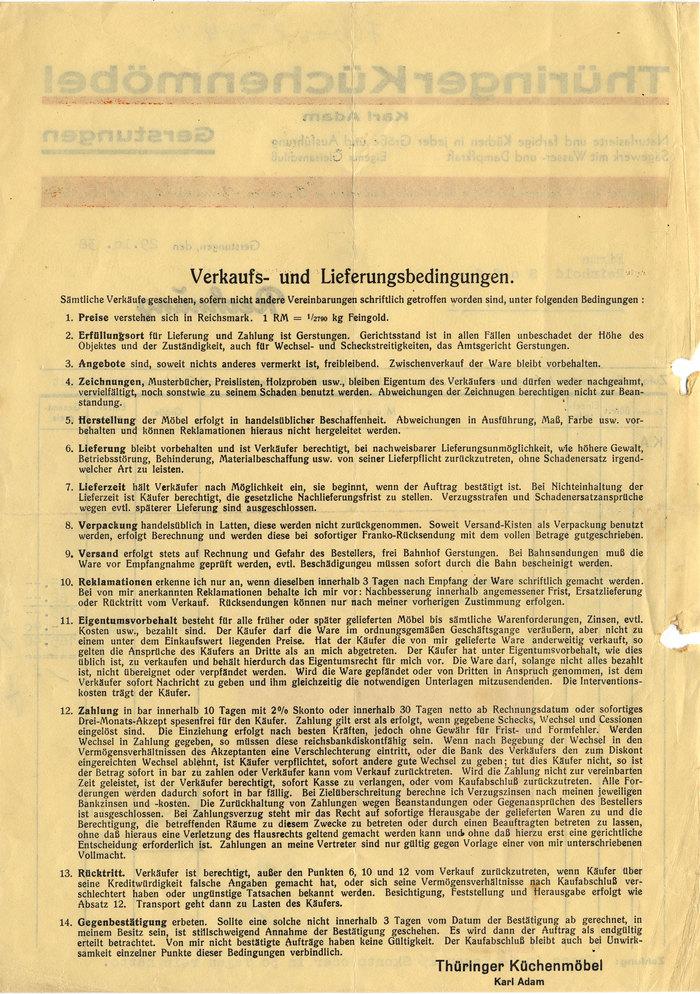 Thüringer Küchenmöbel invoice, 1938 2