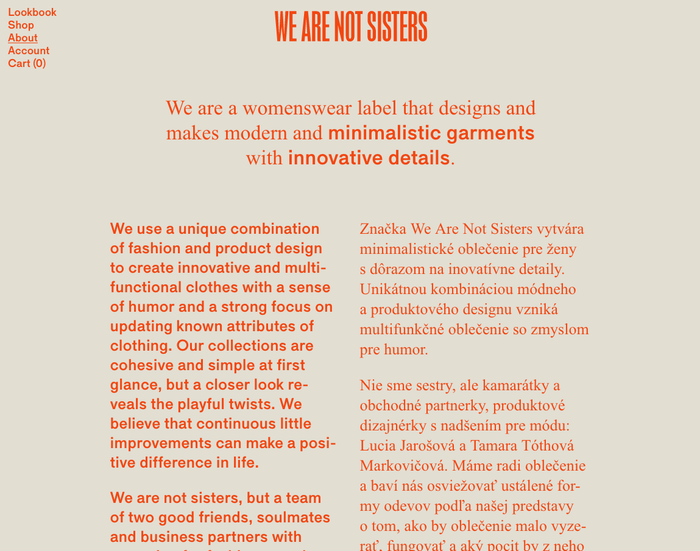 We Are Not Sisters website 4