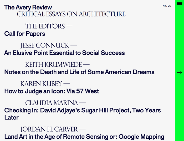 The Avery Review website 1