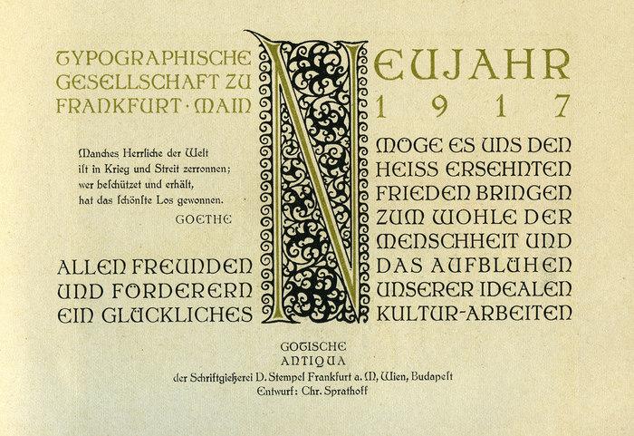 Typographische Gesellschaft zu Frankfurt/Main, NewYear wishes 1917