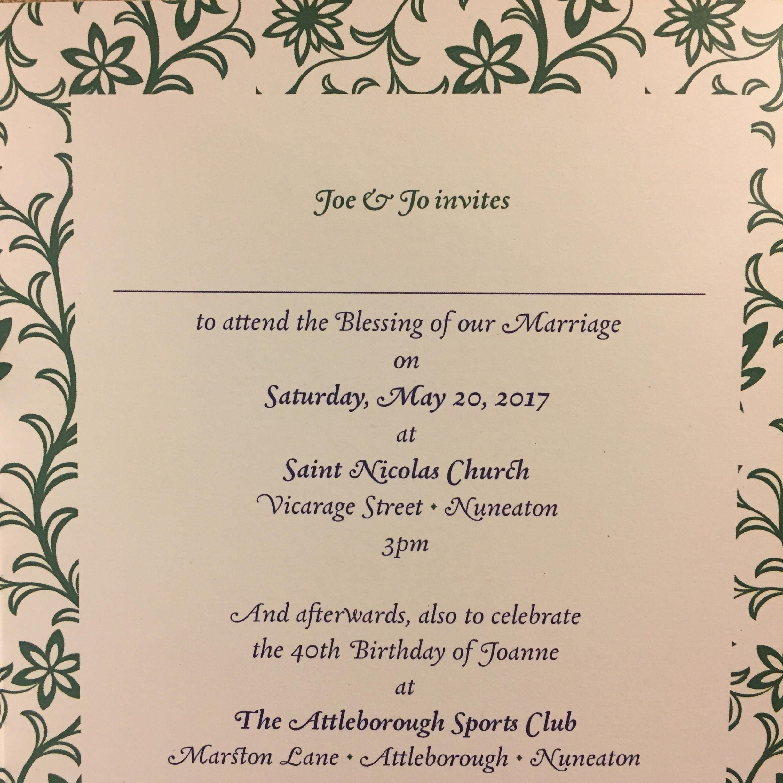 Joe & Jo wedding blessing invitation - Fonts In Use