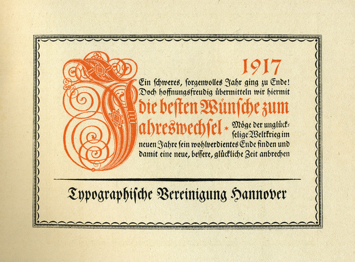 Typographische Vereinigung Hannover, New Year wishes 1917