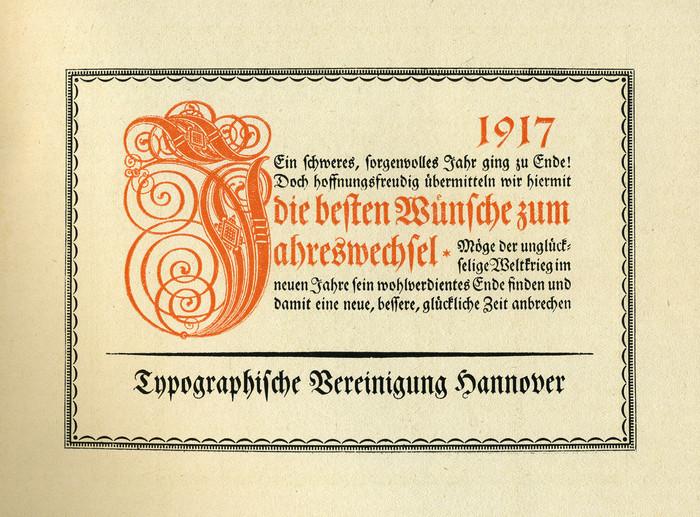 Typographische Vereinigung Hannover, New Year wishes 1917