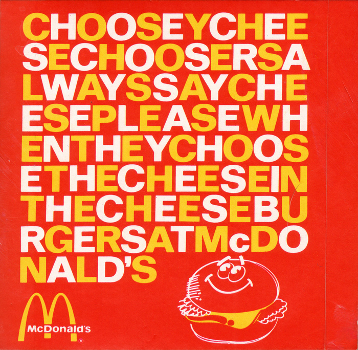 "McDonald's ""Choosey Cheese Choosers"" sticker"
