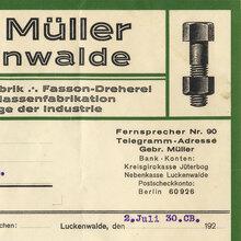 Gebr. Müller Luckenwalde letterhead, 1930