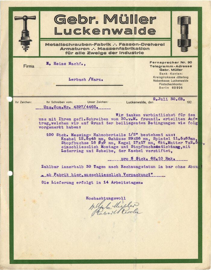 Gebr. Müller Luckenwalde letterhead, 1930 1