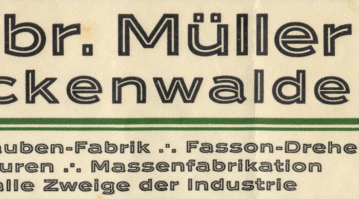 Gebr. Müller Luckenwalde letterhead, 1930 2